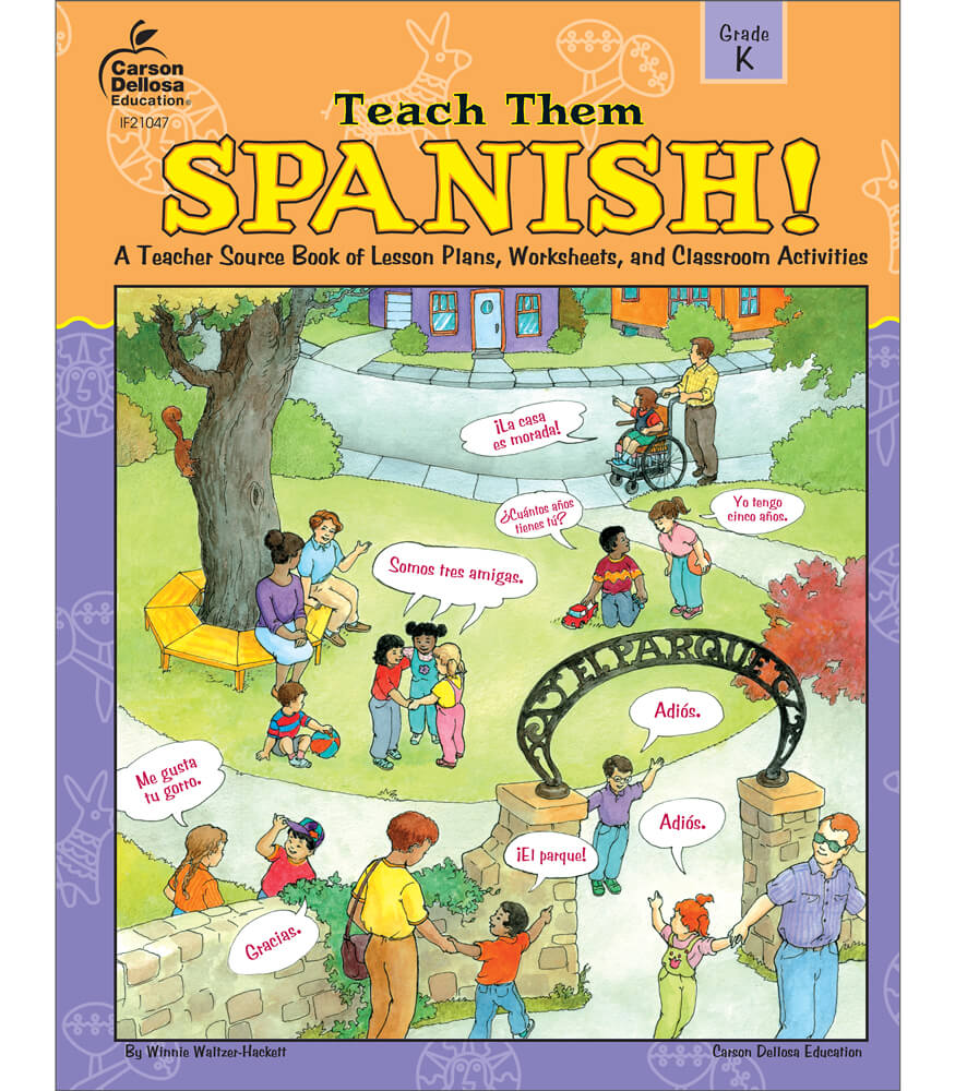 Worksheets Carson-dellosa Worksheets teach them spanish resource book grade k book