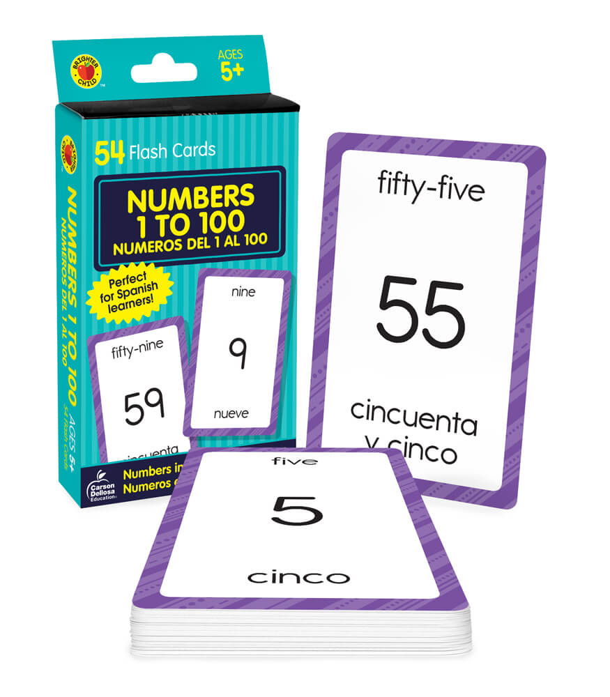Numbers 1 to 100 Flash Cards Grade K-3