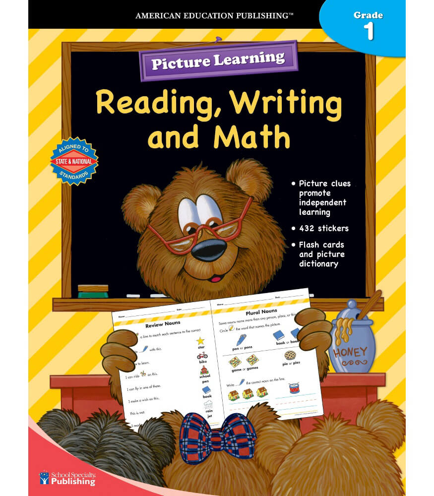Picture Learning Reading, Writing, and Math for Grade 1 Workbook Product Image