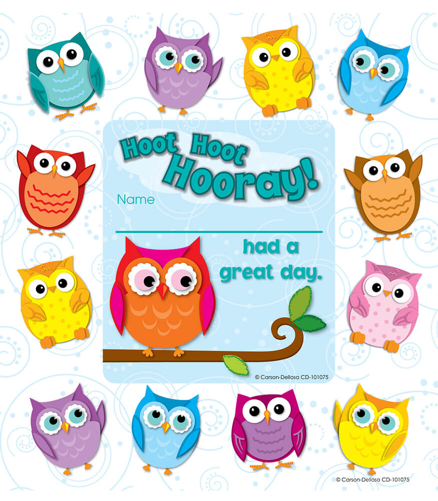 Colorful Owls Framed Awards Grade Pk 5