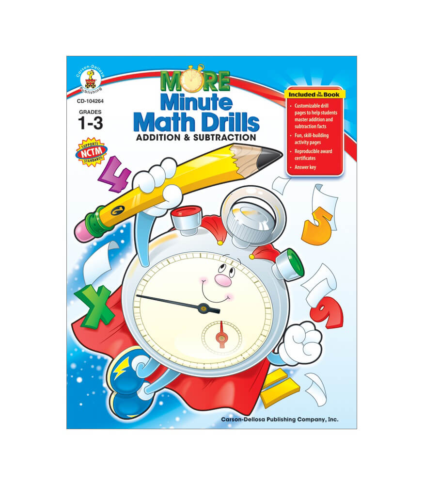 Worksheets Carson-dellosa Worksheets more minute math drills resource book grade 1 3 book