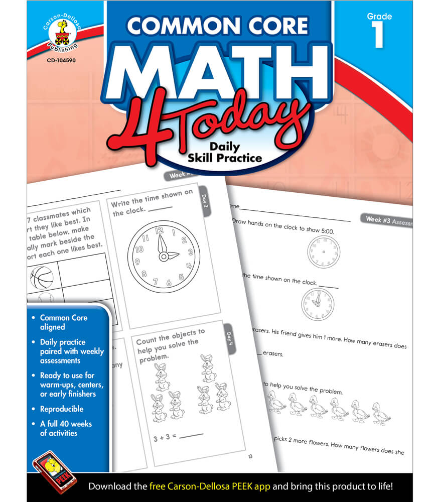 Workbooks 1st grade math workbooks : Common Core Math 4 Today Workbook Grade 1 | Carson-Dellosa Publishing