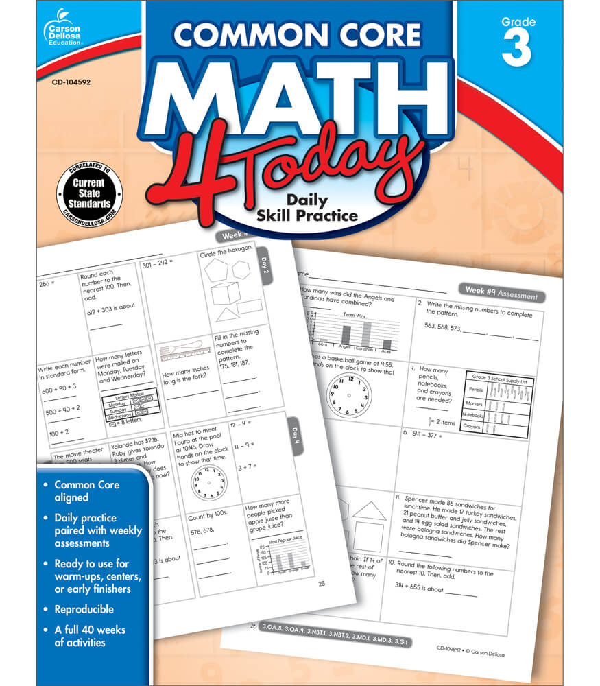 Common Core Math 4 Today Workbook Grade 3