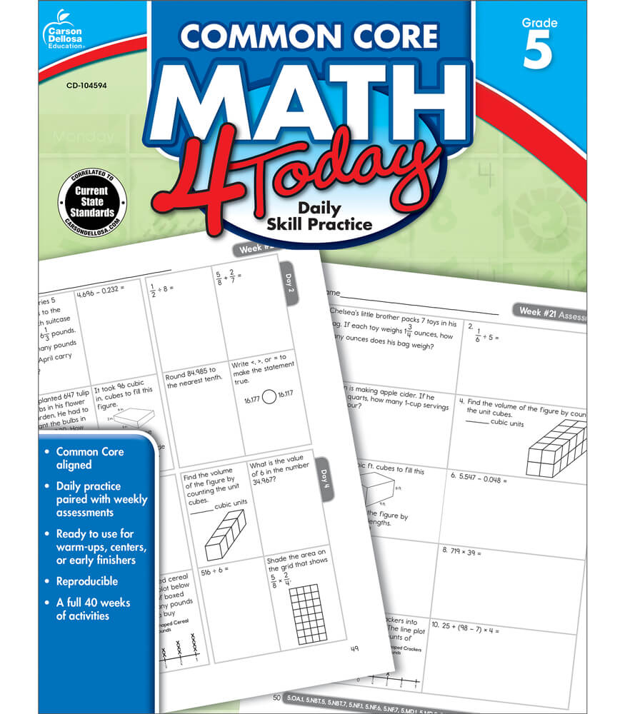 Worksheets Carson-dellosa Worksheets common core math 4 today workbook grade 5 workbook