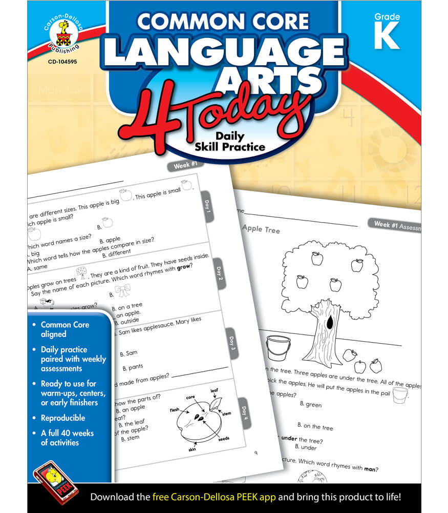 worksheet Carson-dellosa Worksheets common core language arts 4 today workbook grade k workbook