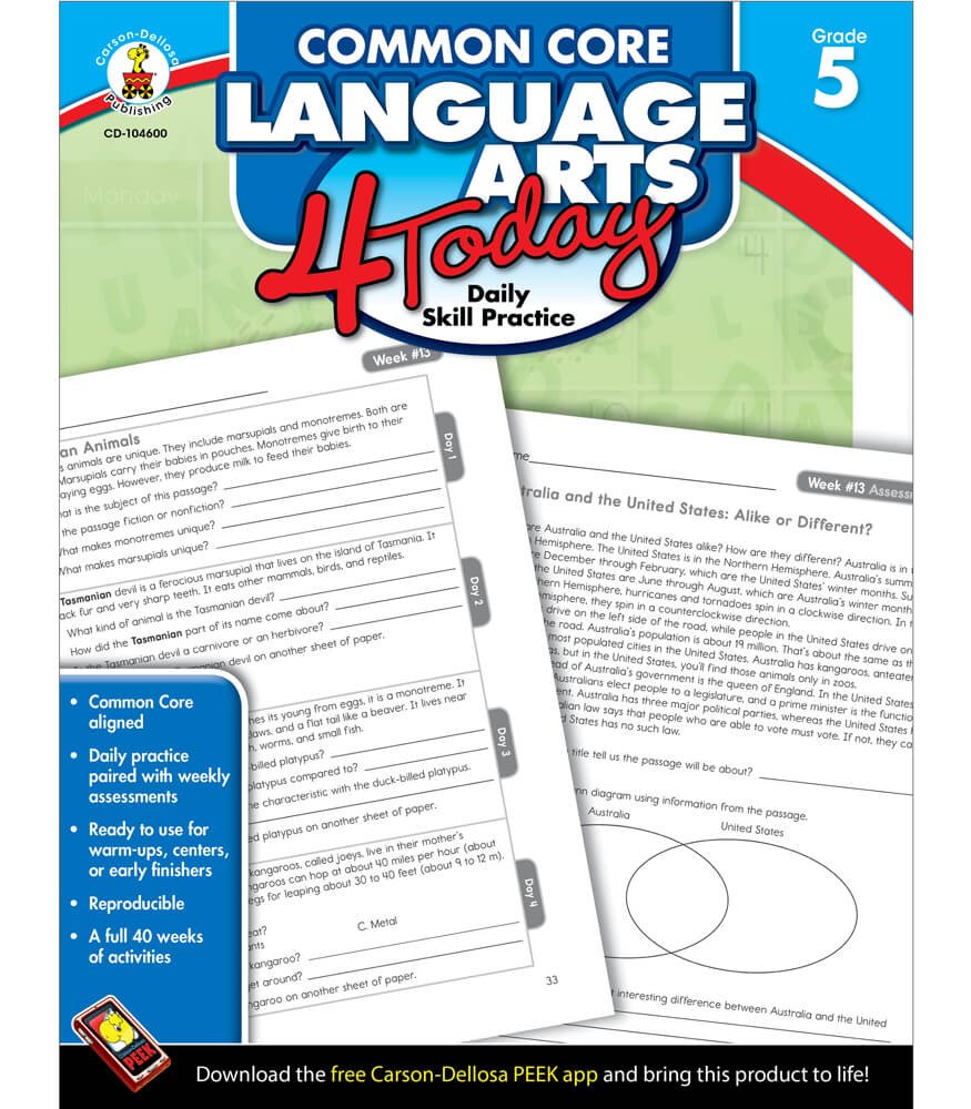 Common Core Language Arts 4 Today Workbook Product Image