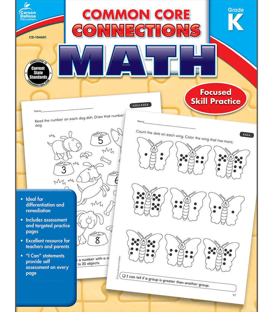 Workbooks kindergarten common core workbook : Common Core Connections Math Workbook Grade K | Carson-Dellosa ...