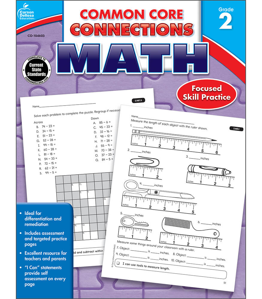 Workbooks kindergarten common core workbook : Common Core Connections Math Workbook Grade 2 | Carson-Dellosa ...