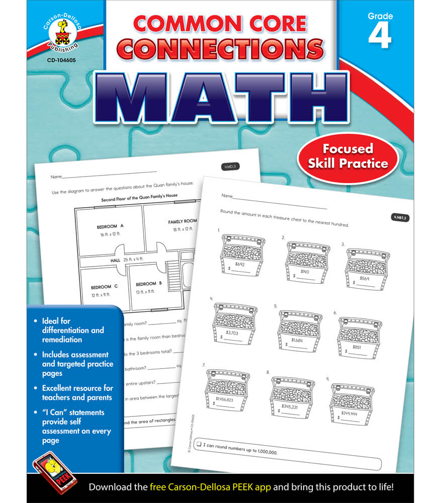 Workbooks kindergarten common core workbook : Common Core Connections Math Workbook Grade 4 | Carson-Dellosa ...