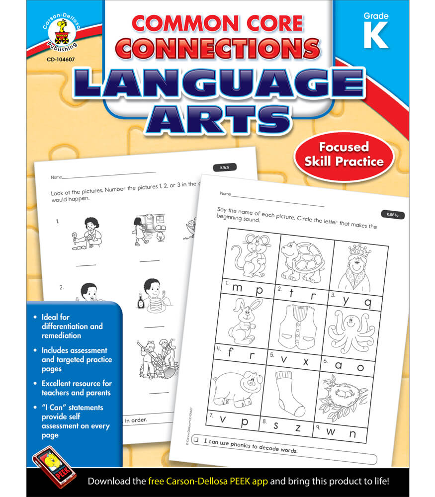 Workbooks kindergarten common core workbook : Common Core Connections Language Arts Workbook Grade K | Carson ...