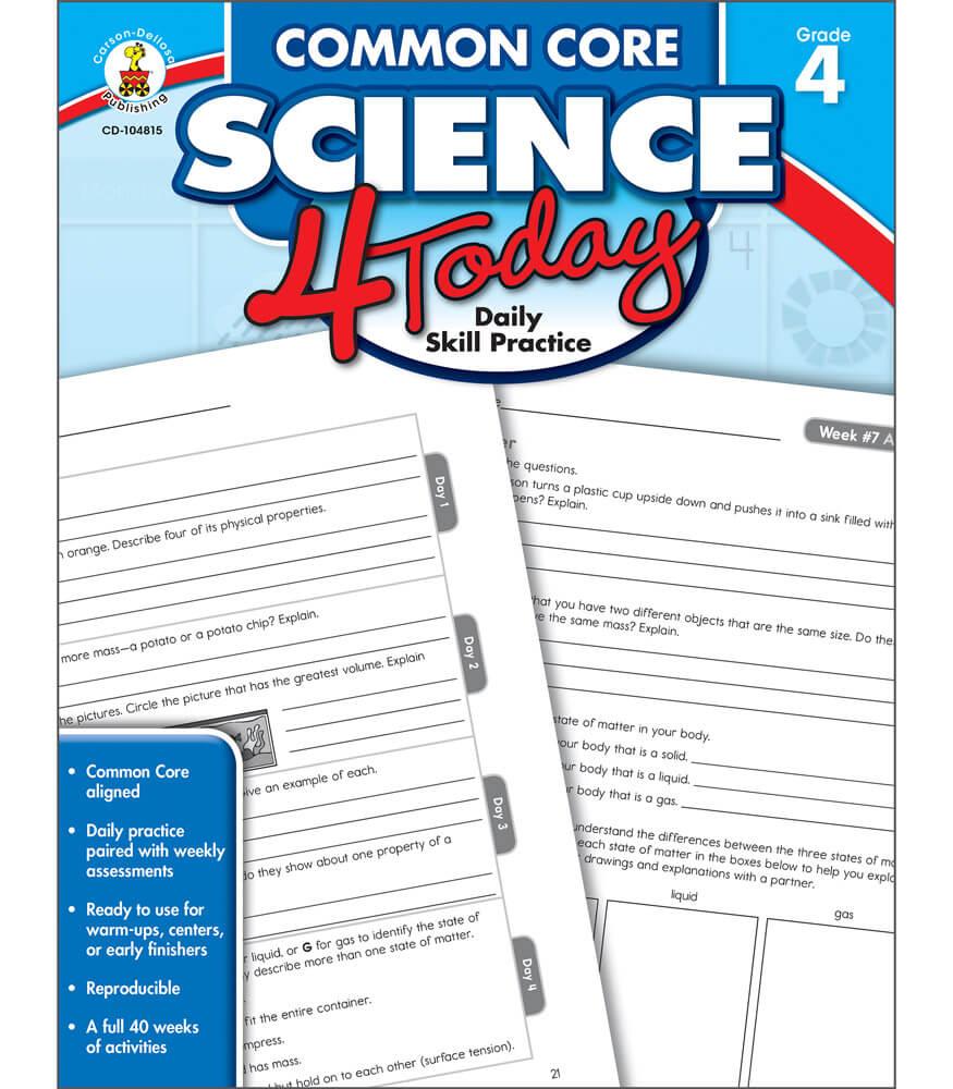 Common Core Science 4 Today Workbook Grade 4 | Carson-Dellosa ...