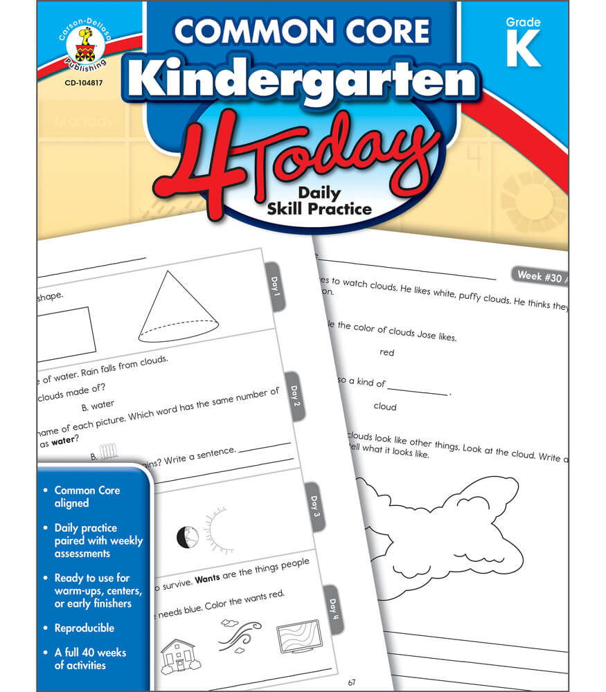 Workbooks kindergarten common core workbook : Common Core Kindergarten 4 Today Workbook Grade K | Carson-Dellosa ...