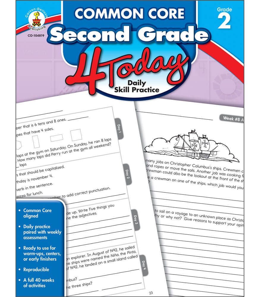 Workbooks kindergarten common core workbook : Common Core Second Grade 4 Today Workbook Grade 2 | Carson-Dellosa ...
