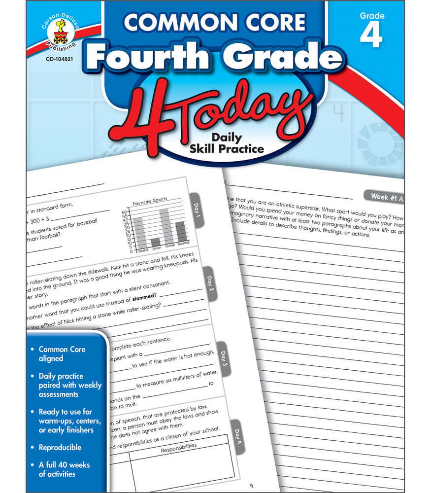 Common Core Fourth Grade 4 Today Workbook Product Image
