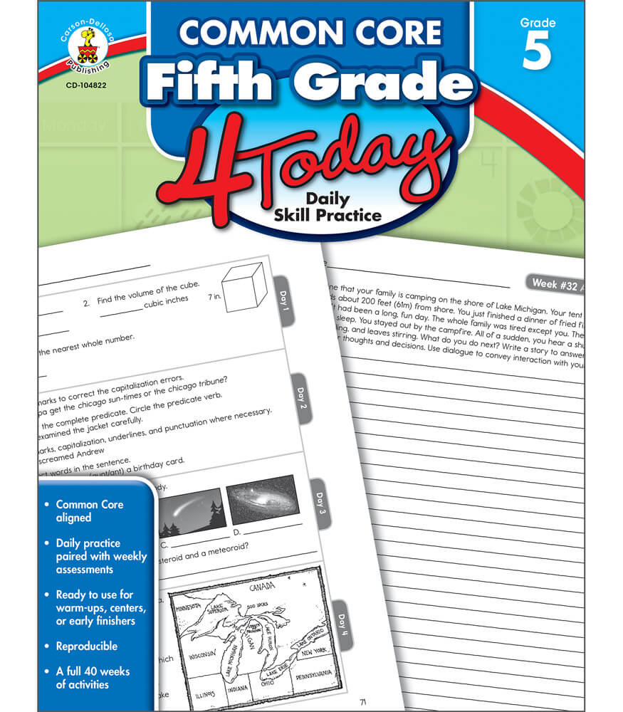 Common Core Fifth Grade 4 Today Workbook Grade 5