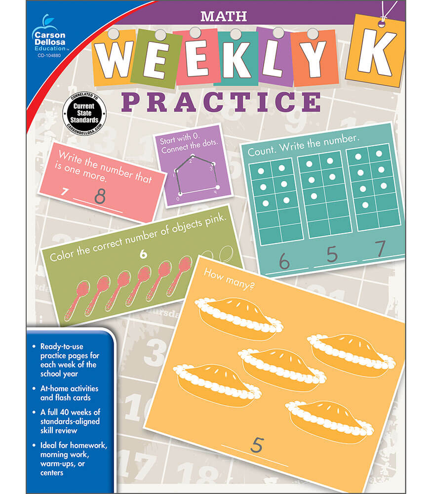 Weekly Practice: Math Workbook Grade K