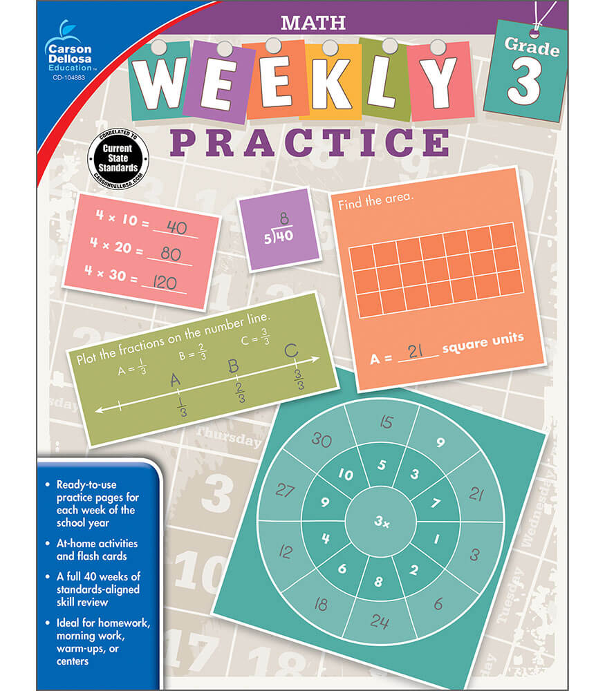 Weekly Practice: Math Workbook Grade 3