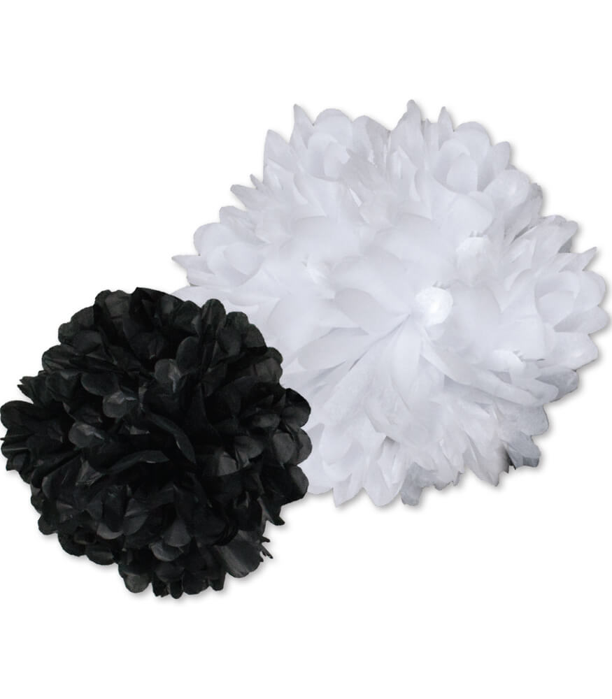 Black and White Pom-Poms Dimensional Accent