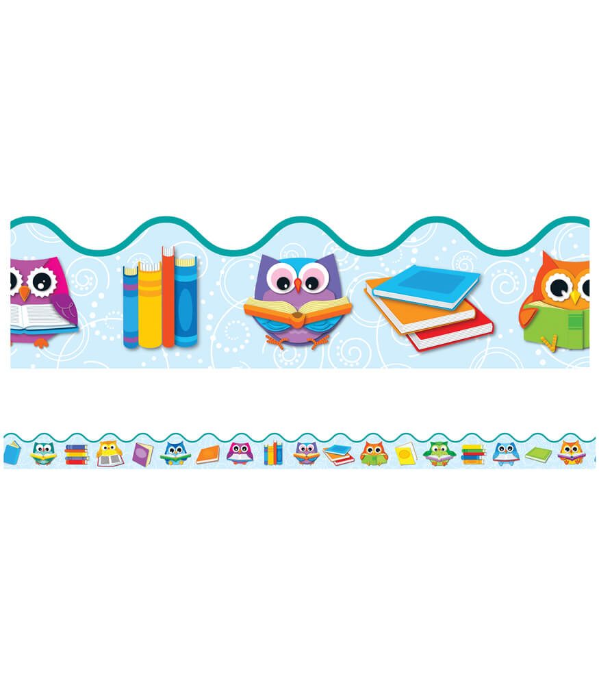 Reading with Colorful Owls Scalloped Borders Product Image