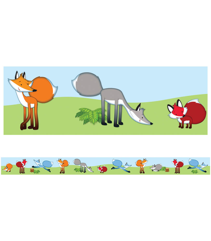 Playful Foxes Straight Borders Product Image