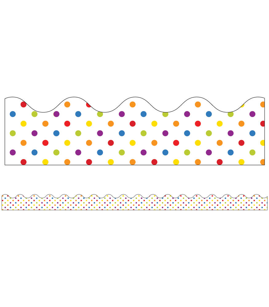 Super Power Rainbow Dots Scalloped Borders Product Image