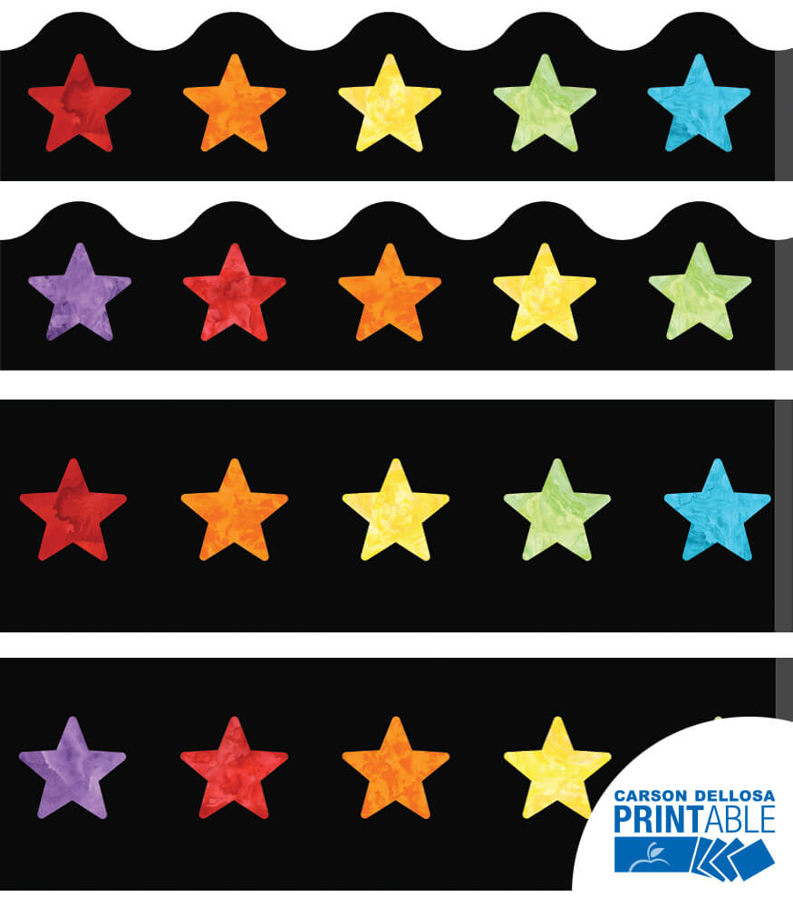 Watercolor Stars Printable Border Set