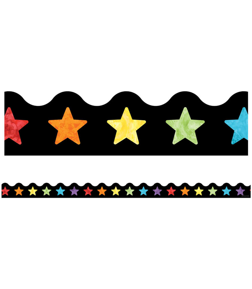 Watercolor Stars Scalloped Borders Product Image