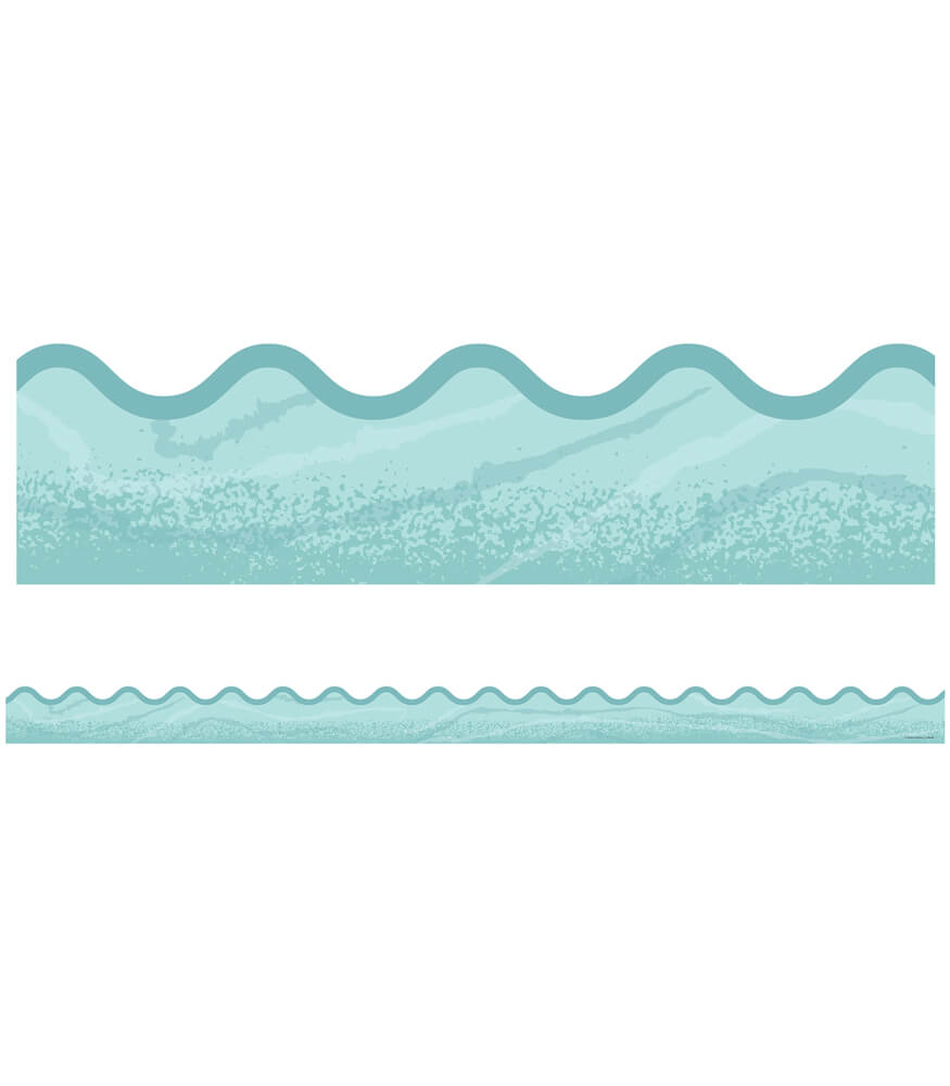 Blue Woodgrain Scalloped Borders Product Image