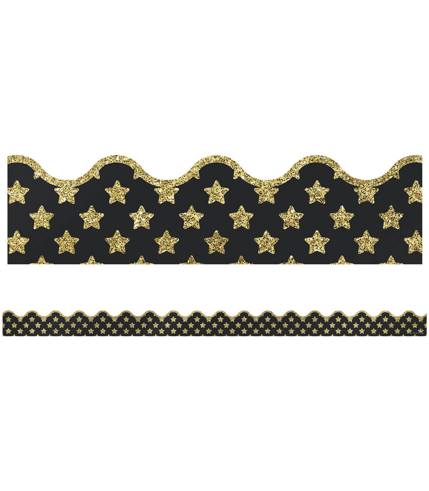 Gold Glitter Stars Scalloped Borders Product Image