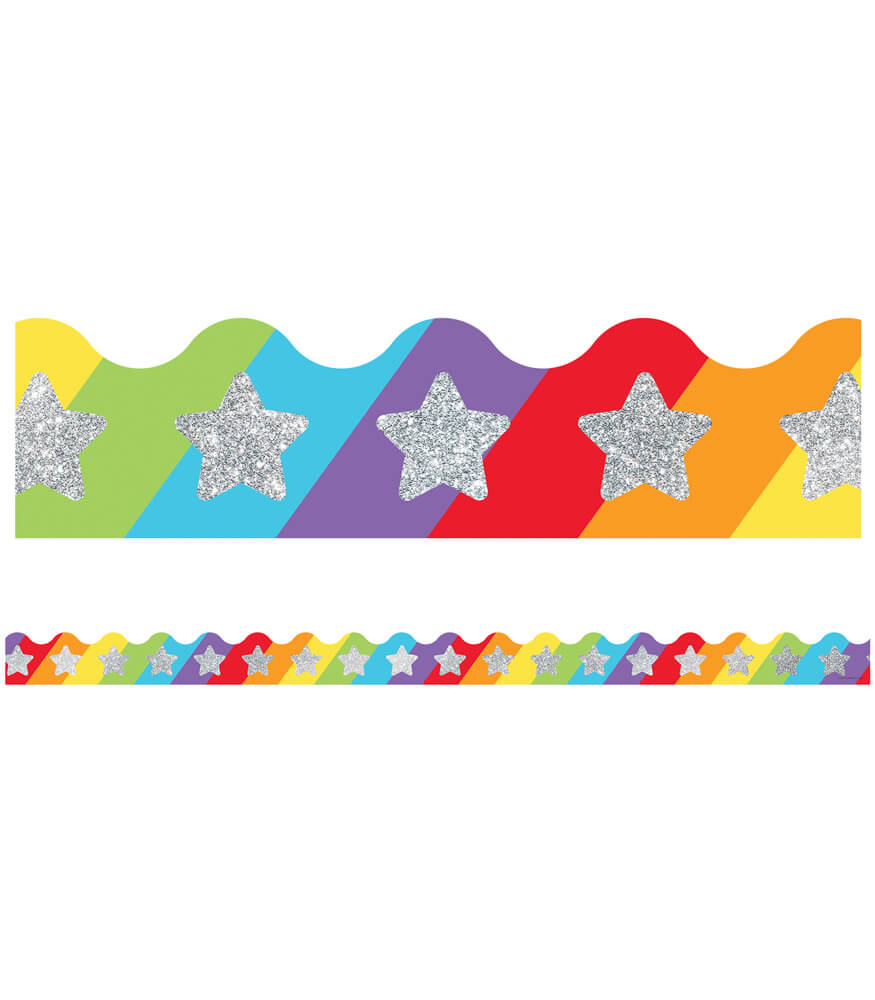Glitter Stars on Rainbow Scalloped Borders Product Image