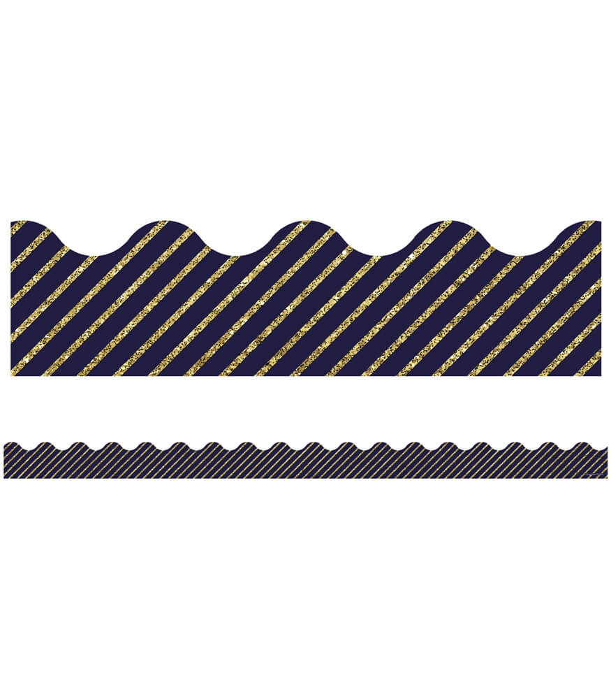 gold glitter and navy stripe scalloped borders