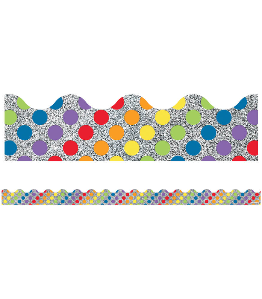 Rainbow Dots on Glitter Scalloped Borders Product Image