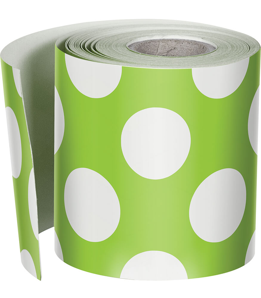Lime with Polka Dots Rolled Straight Borders Product Image