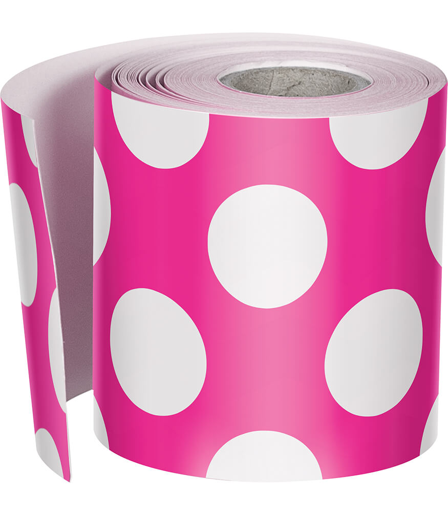 Hot Pink with Polka Dots Rolled Straight Borders Product Image