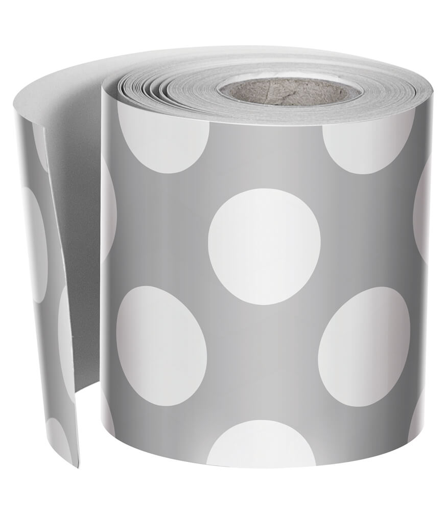 Grey with Polka Dots Rolled Straight Borders Product Image