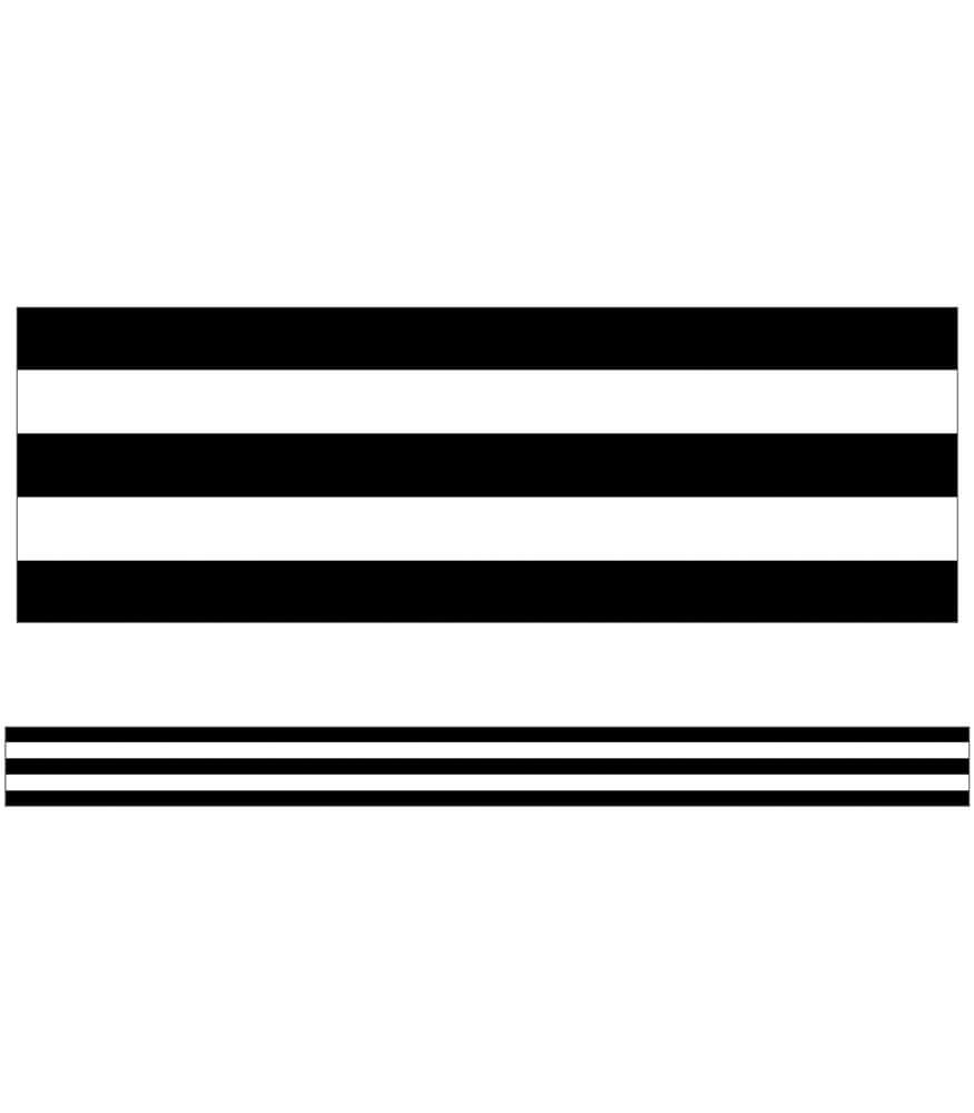 Black & White Stripes Straight Borders Product Image
