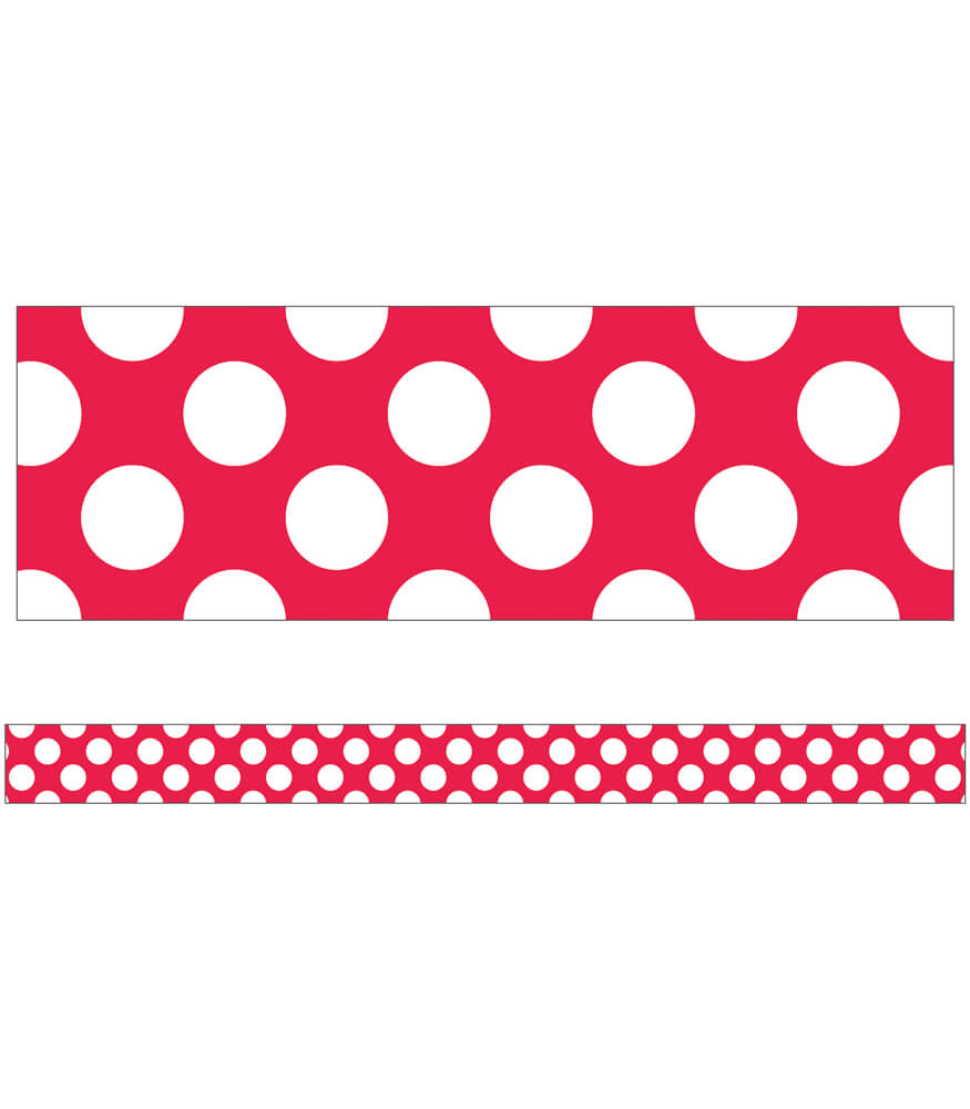 Red with Polka Dots Straight Borders