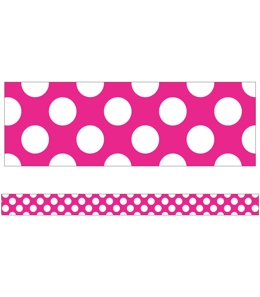 Hot Pink with Polka Dots Straight Borders Product Image