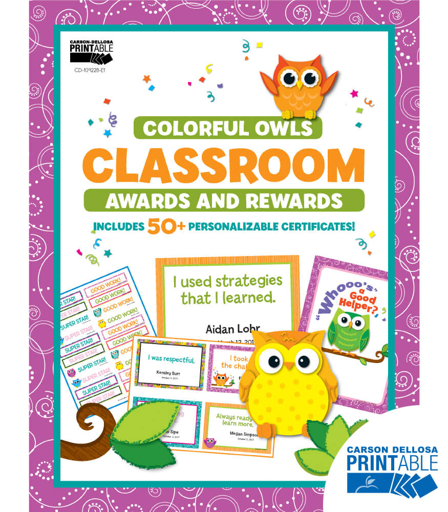 Colorful Owls Classroom Printable Awards & Rewards
