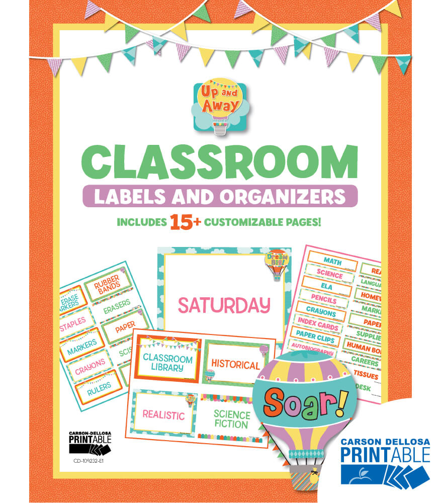 Up and Away Printable Classroom Labels & Organizers