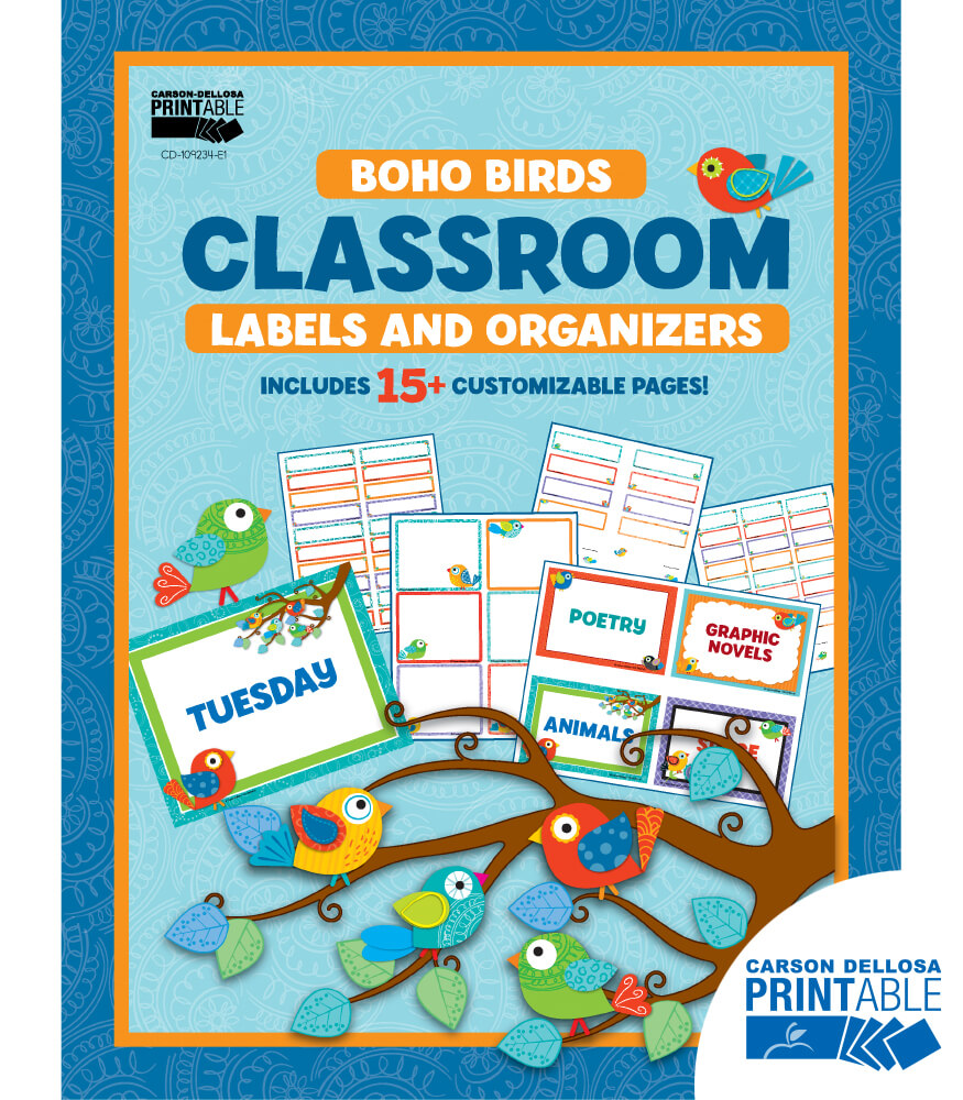 Boho Birds Classroom Printable Labels & Organizers Product Image