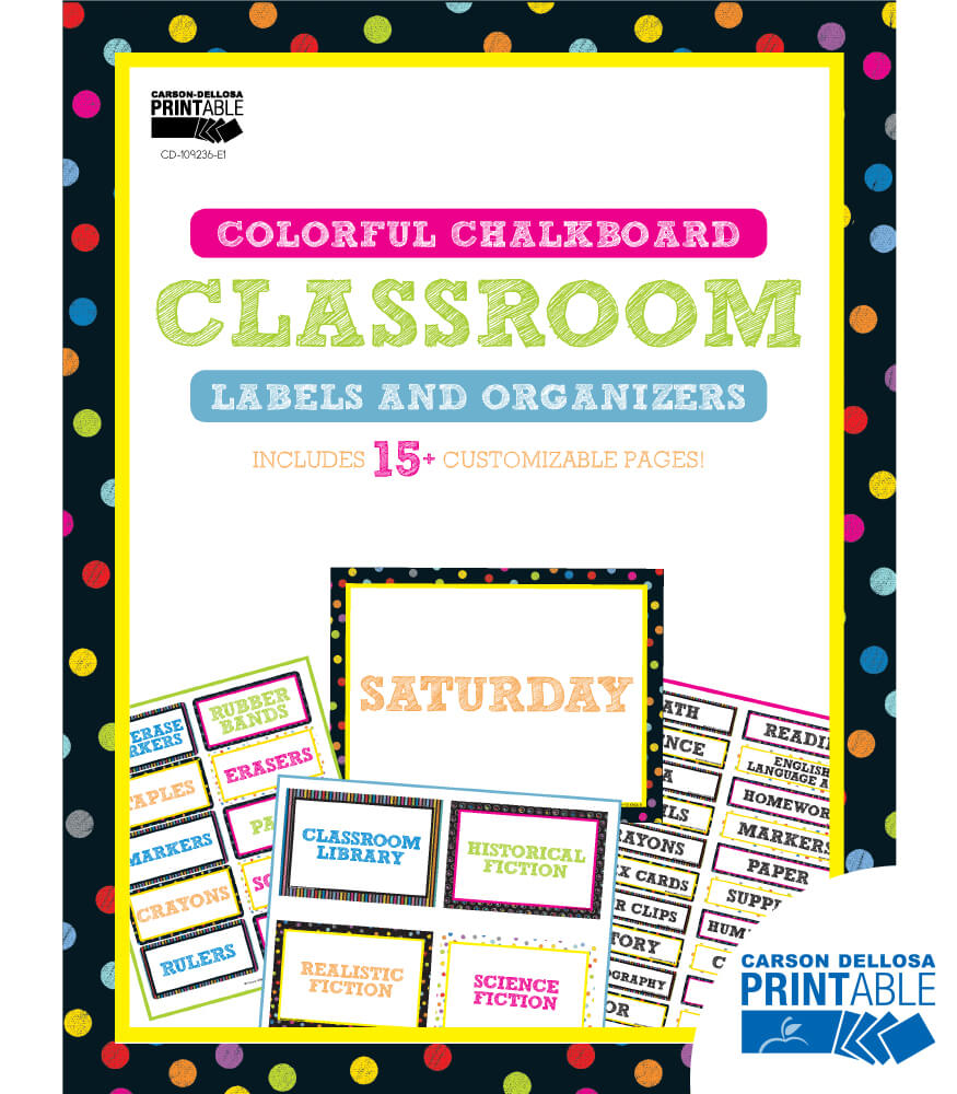 Colorful Chalkboard Classroom Printable Labels & Organizers