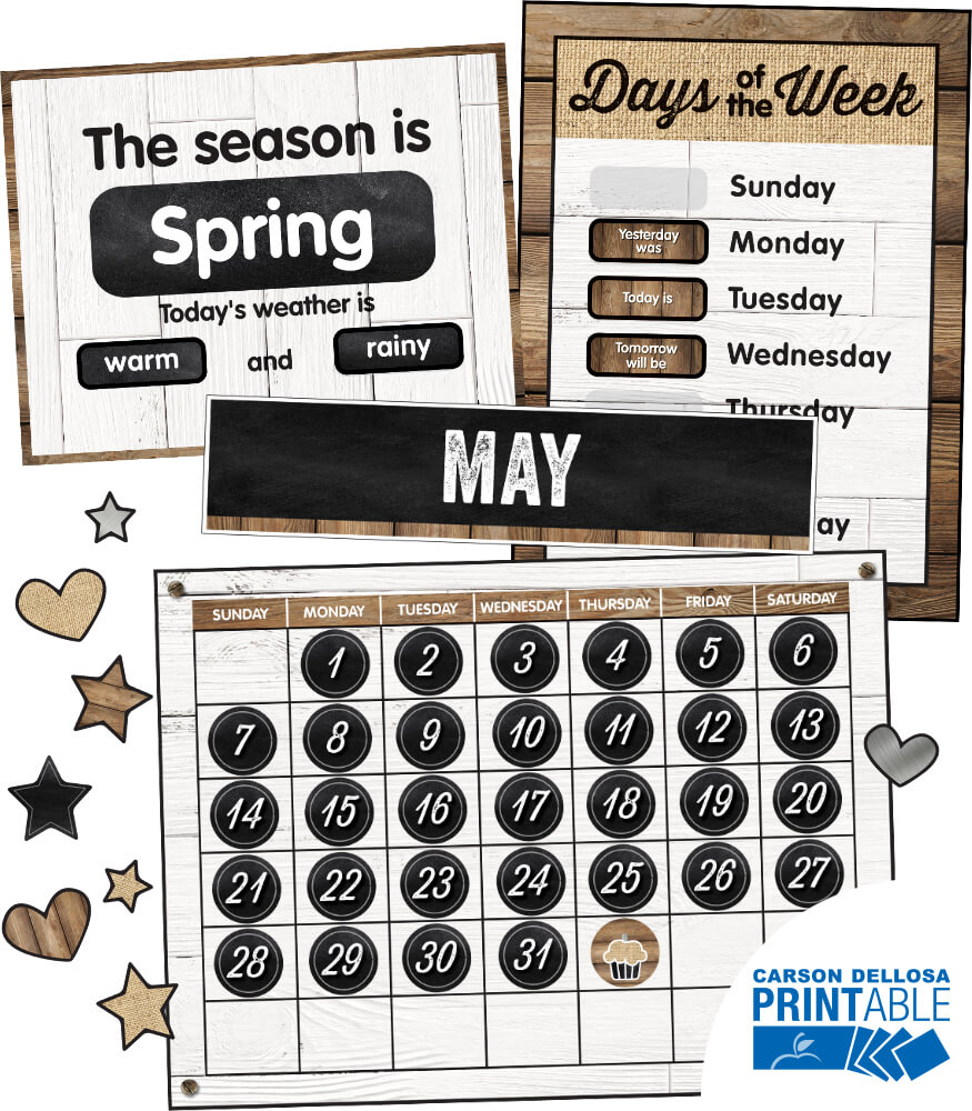 Industrial Chic Calendar Printable Bulletin Board Set Product Image
