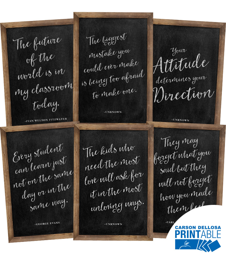 Industrial Chic Chalkboard Inspirational  Printable Chart Set Product Image