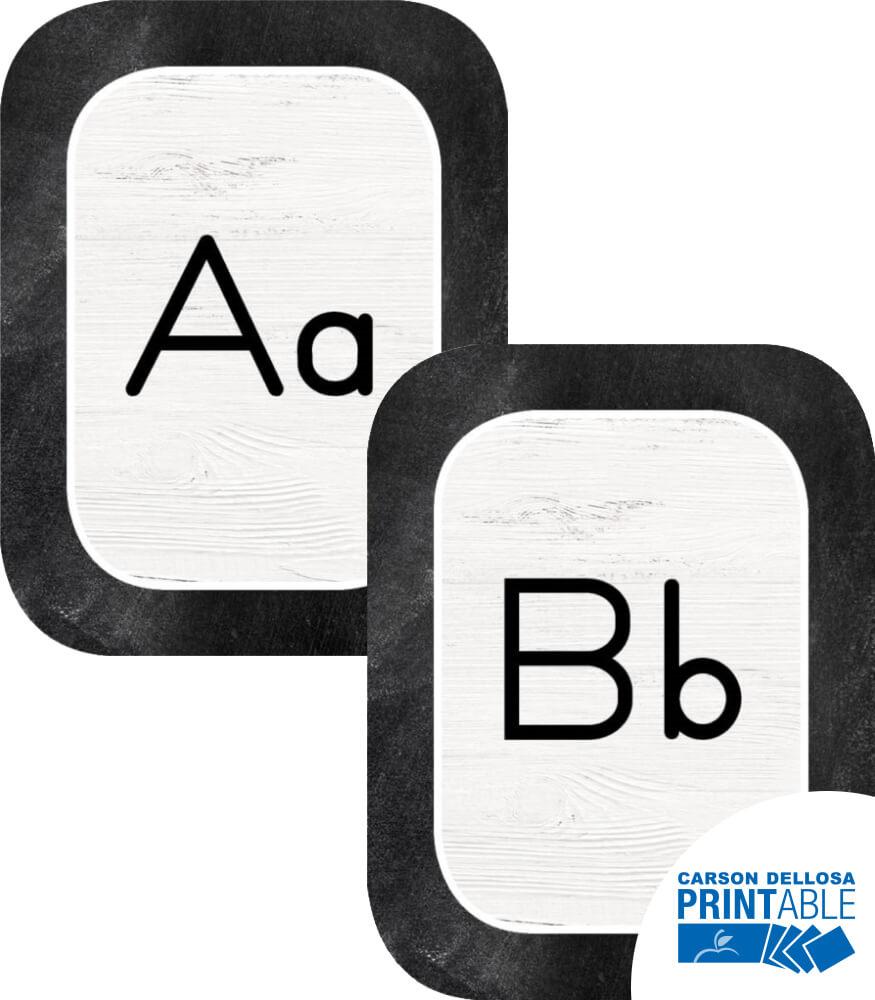 Industrial Chic Manuscript Alphabet Printable Bulletin Board Set Product Image