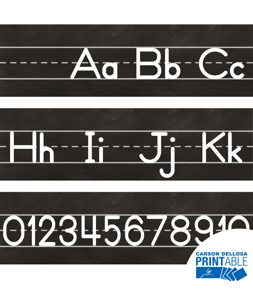 Industrial Chic Manuscript Alphabet Line Printable Bulletin Board Set
