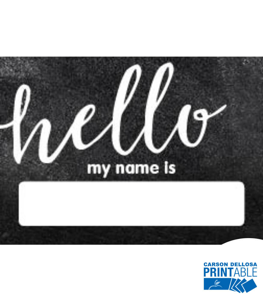 Industrial Chic Hello Printable Name Tags Grade PK 8