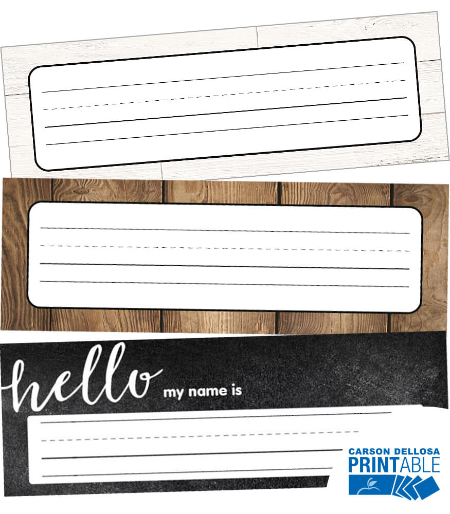 Industrial Chic Printable Nameplates Product Image