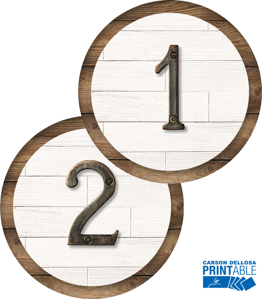 Industrial Chic Farmhouse Classic Round Number Printable Cut-Outs Product Image