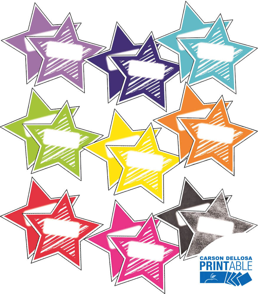 Twinkle Twinkle You're A STAR! Shapes Printable Name Tags Product Image